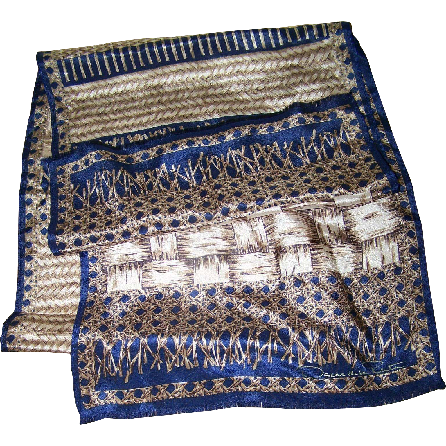 Long Rectangular Designer Signed Oscar  de la Rental Fringed Silk Scarf Weaving Theme