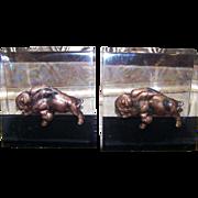 Unique Canada Acrylic Lucite  Copper Figural Buffalo Theme  Mid-Century Modern
