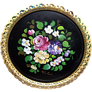 Beautiful Hand Painted Metalware Tole Tray Floral with Pierced Edge