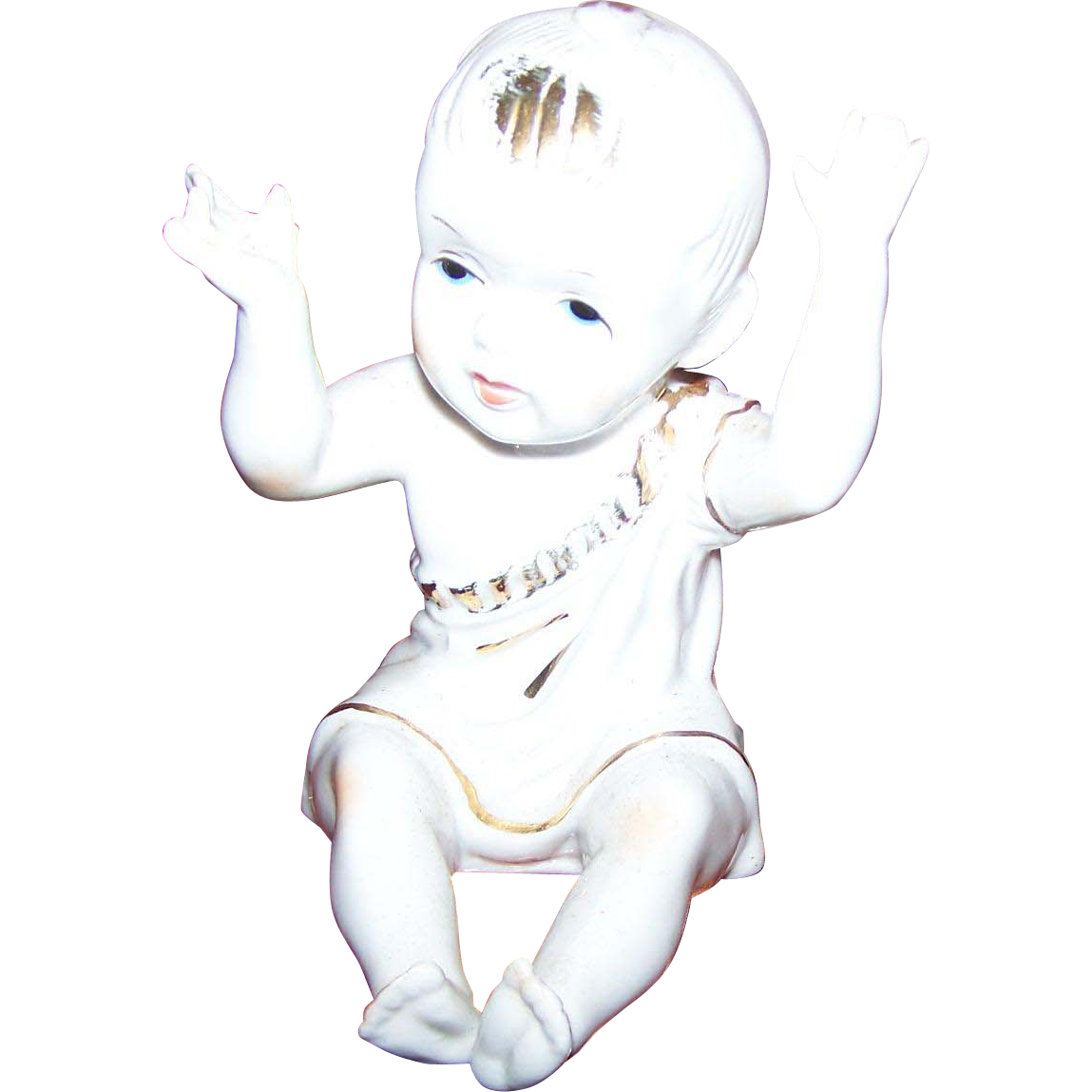 Charming Vintage Ceramic Figurine Figural Piano Baby