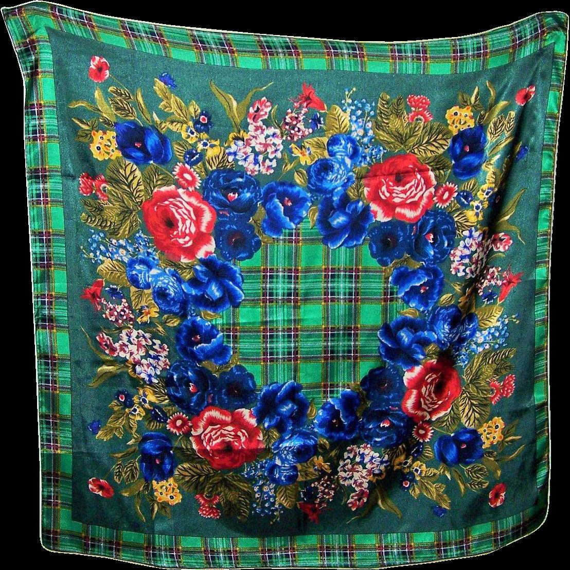 Emanuel Geraldo Designer Plaid Floral Large Fashion Scarf