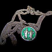 Sterling Silver 925 S  David Andersen Norway Green Enamel Gemini Charm Pendant