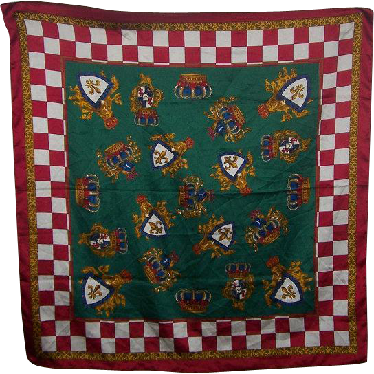 Lovely Vintage Decorative Ladies Fashion  Scarf Crown Shield Checkered Motif