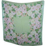 A Pretty  Large Scarf Pink Rose Floral Motif Signed IMPRESSIONS