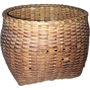 Lovely Large Primitive Hand Woven Basket Displays Well