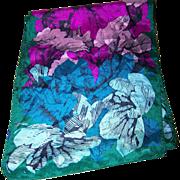 Pretty Floral Pattern Designer Signed Honey Long Rectangular Silk Scarf