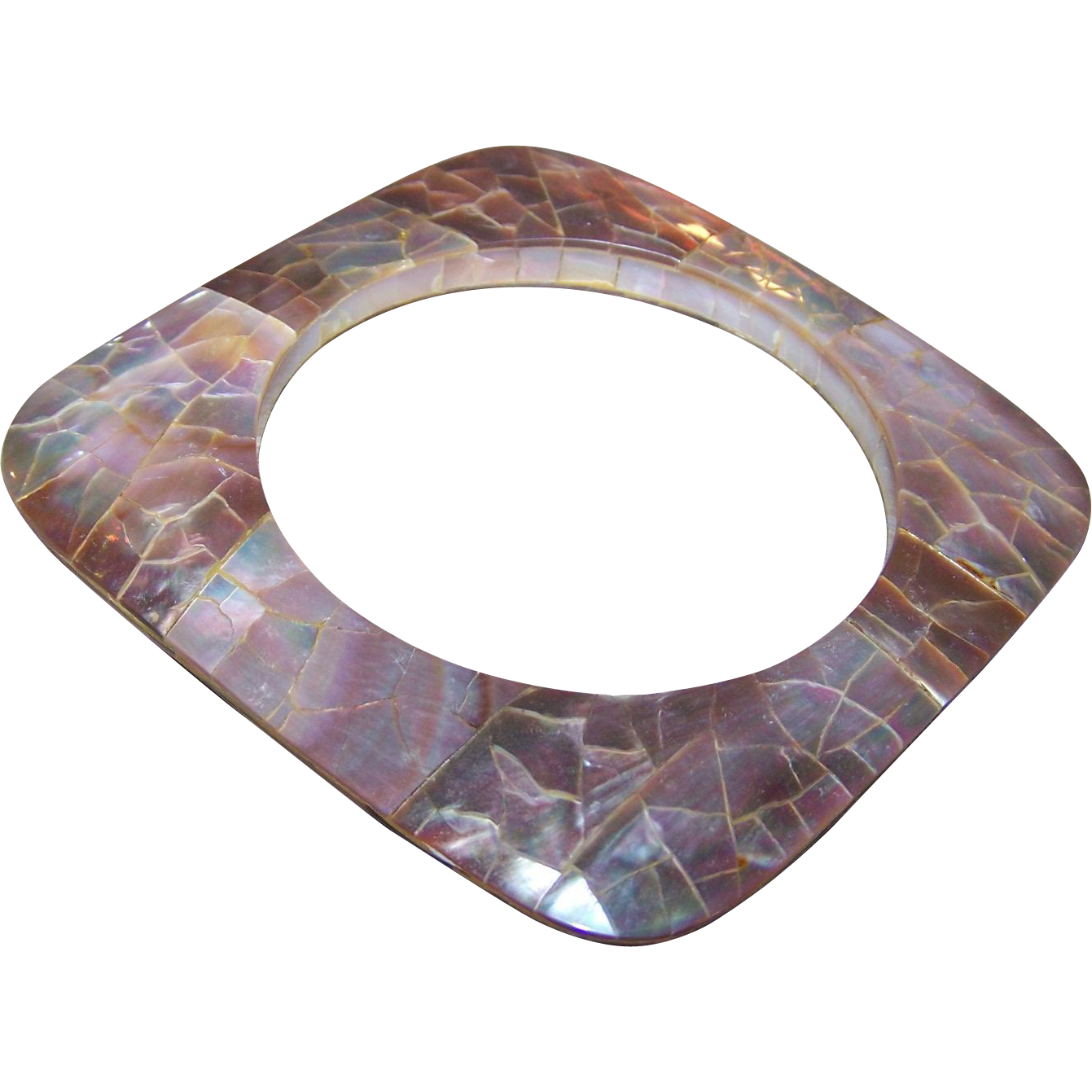 WOW Wonderful Mod Flat MOP Abalone Shell Style Bangle Bracelet