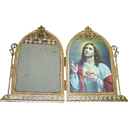 Vintage Folding Hinged Decorative  Gold Gilt Metalware Religious Picture Frame IHS Cross Leaf