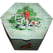 Vintage Tin Litho Advertising  Peek Frean England Biscuit Box Canister Tin   Hunting  Rabbit Dog Duck Theme