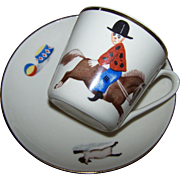 Mid-Century   Child's Tea Cup Saucer PT Tulowice MI Poland Cats , Horse , Backwards Rider