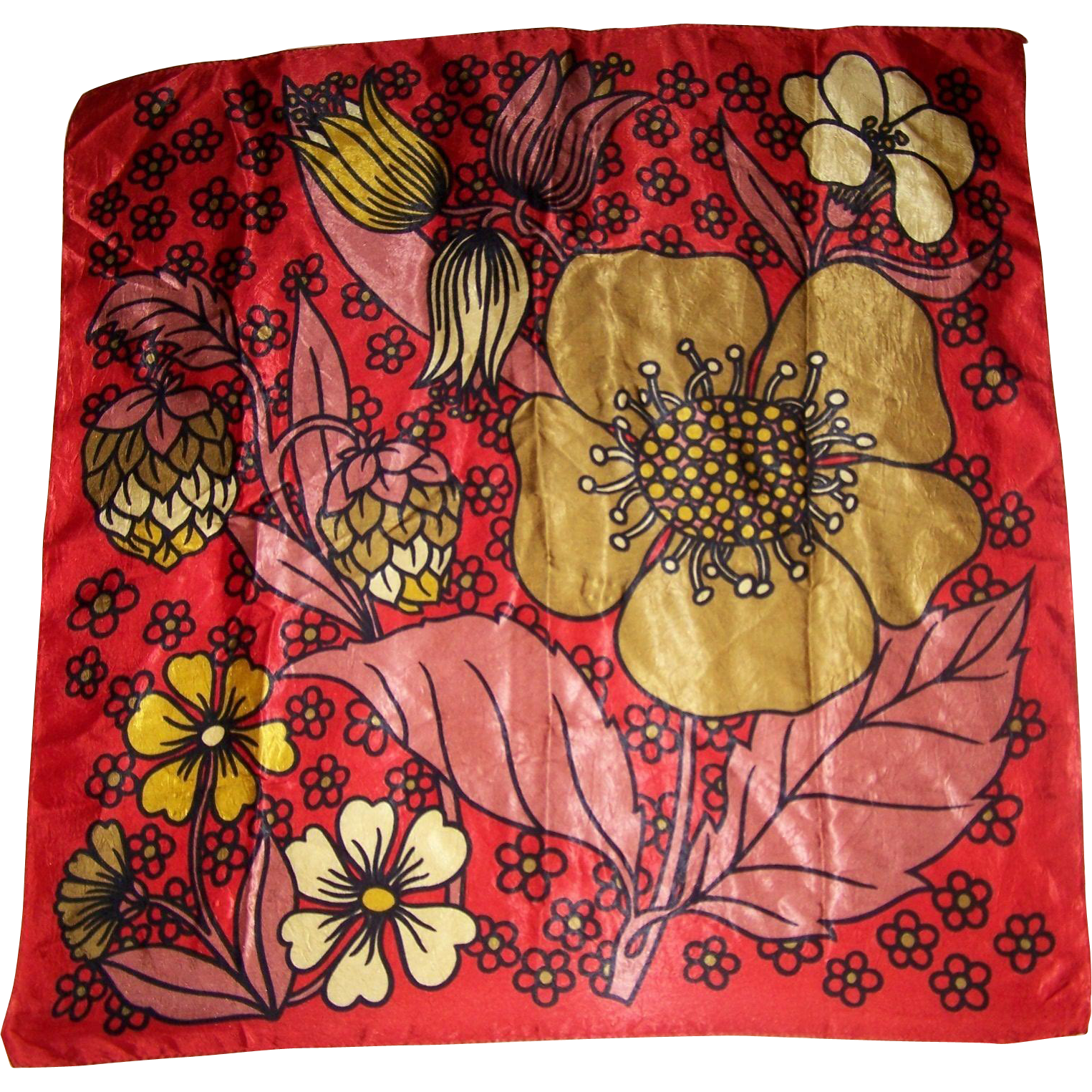 Vintage Groovy Mod Pop Art Flowers Buds Leaves  Flowering Strawberries Ladies Fashion Scarf