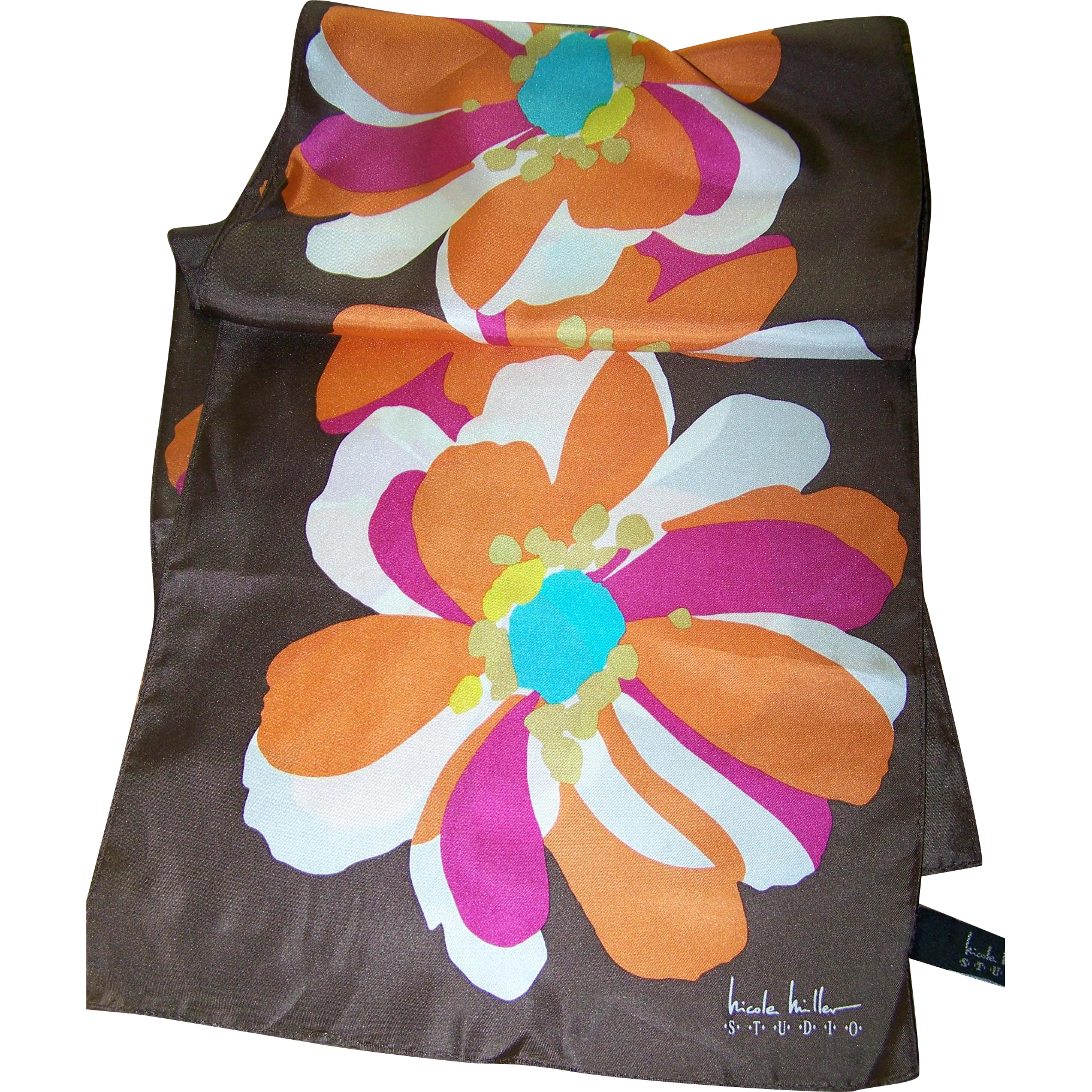 Mod Pop Flower Power  Long Rectangular Designer Signed Nicole Miller Studio Silk Scarf