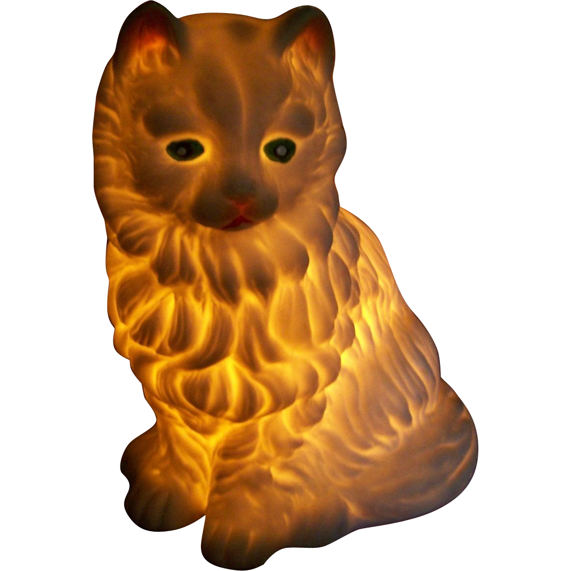 What A Charming Vintage  Ceramic Figurine Kitty Cat Lamp Oh My Home Decor Accent