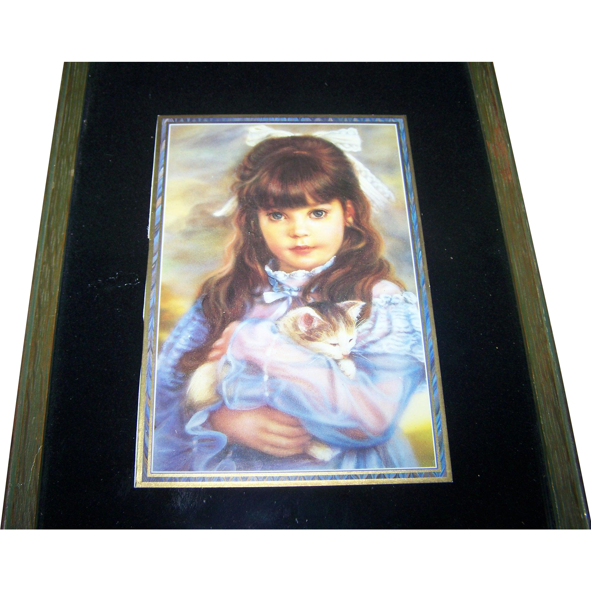 Charming Vintage Framed Print Little Girl and Kitty Cat