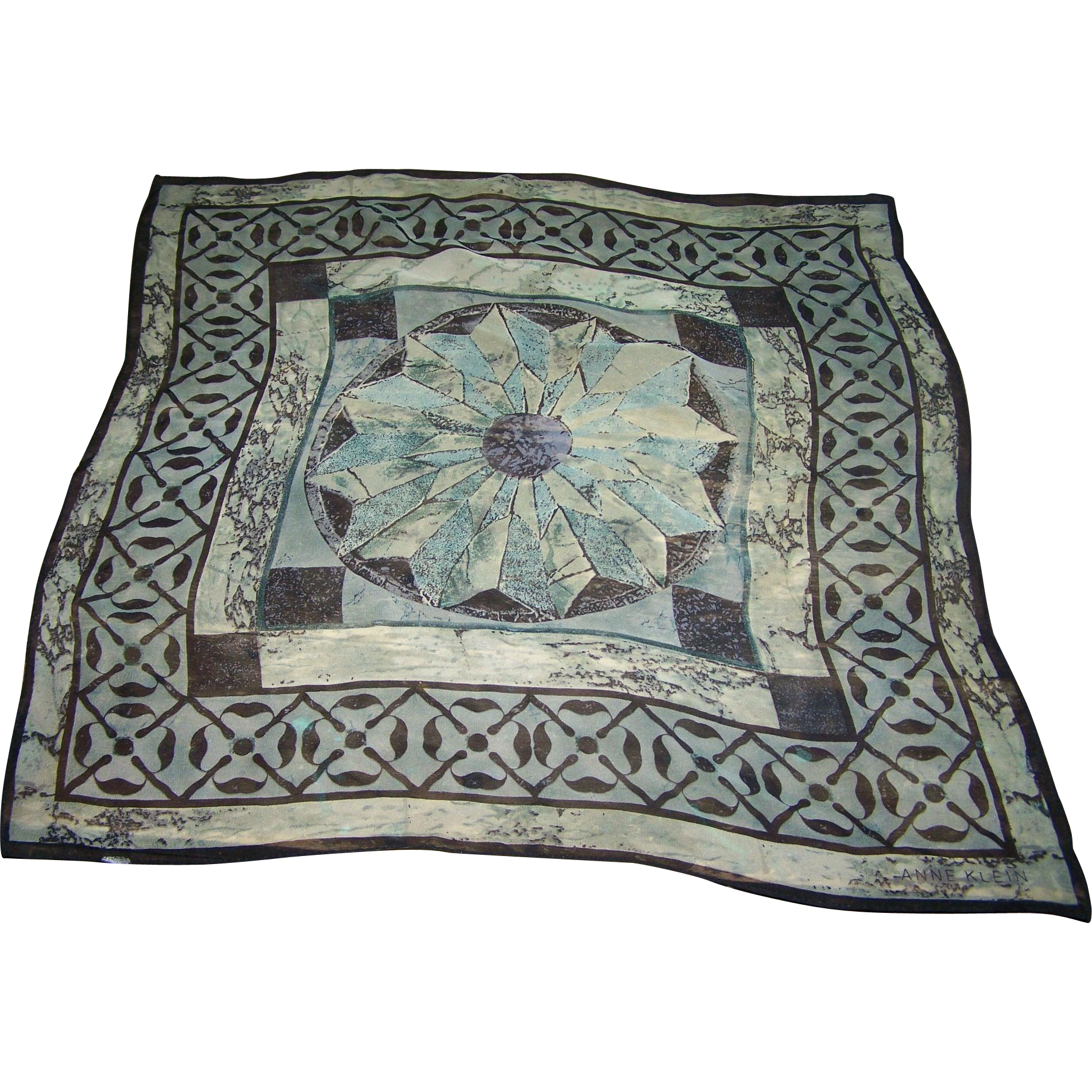 Beautiful Vintage Small Ladies Fashion Scarf Signed Anne Klein Stained Glass Window Floral Design