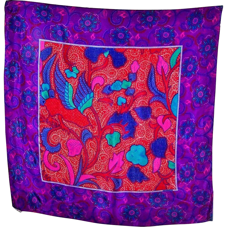 Beautiful Designer Signed Liz Claiborne 100 % Silk Scarf Floral Leaf Print