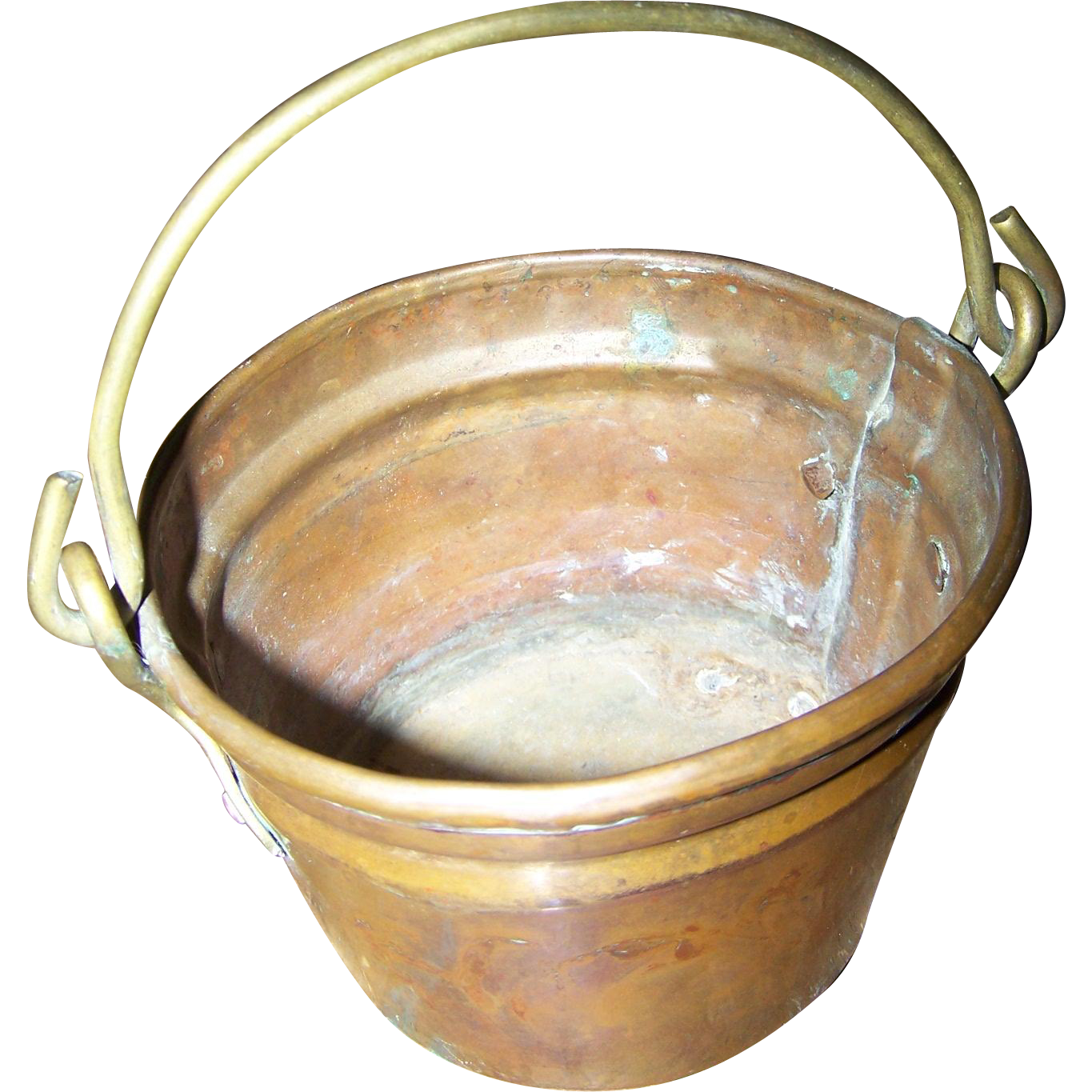 Vintage Brass and Copper Bucket or Pail with Original Handle