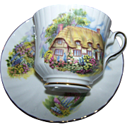 Lovely Thatched Cottage Scenic Floral Bird Themed Tea Cup Saucer Set  Royal Stafford