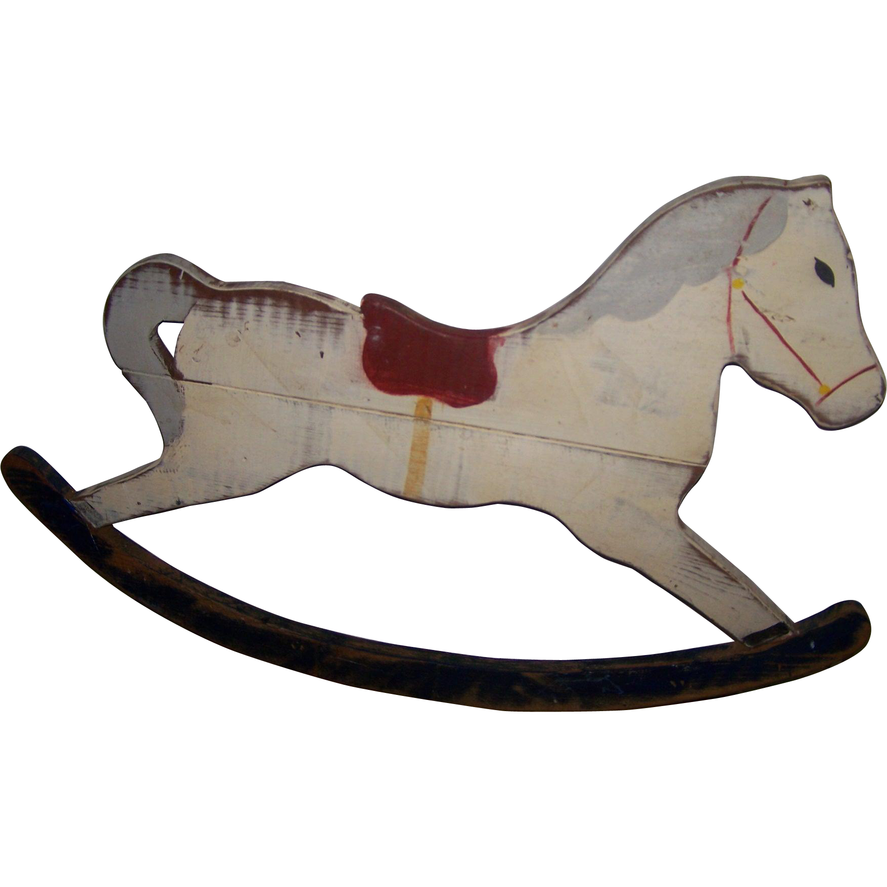 Wooden Rocking Horse Folk Art Hand Crafted Painted  Rocking Horse Artist Signed Wall Decor Hanging DECOR