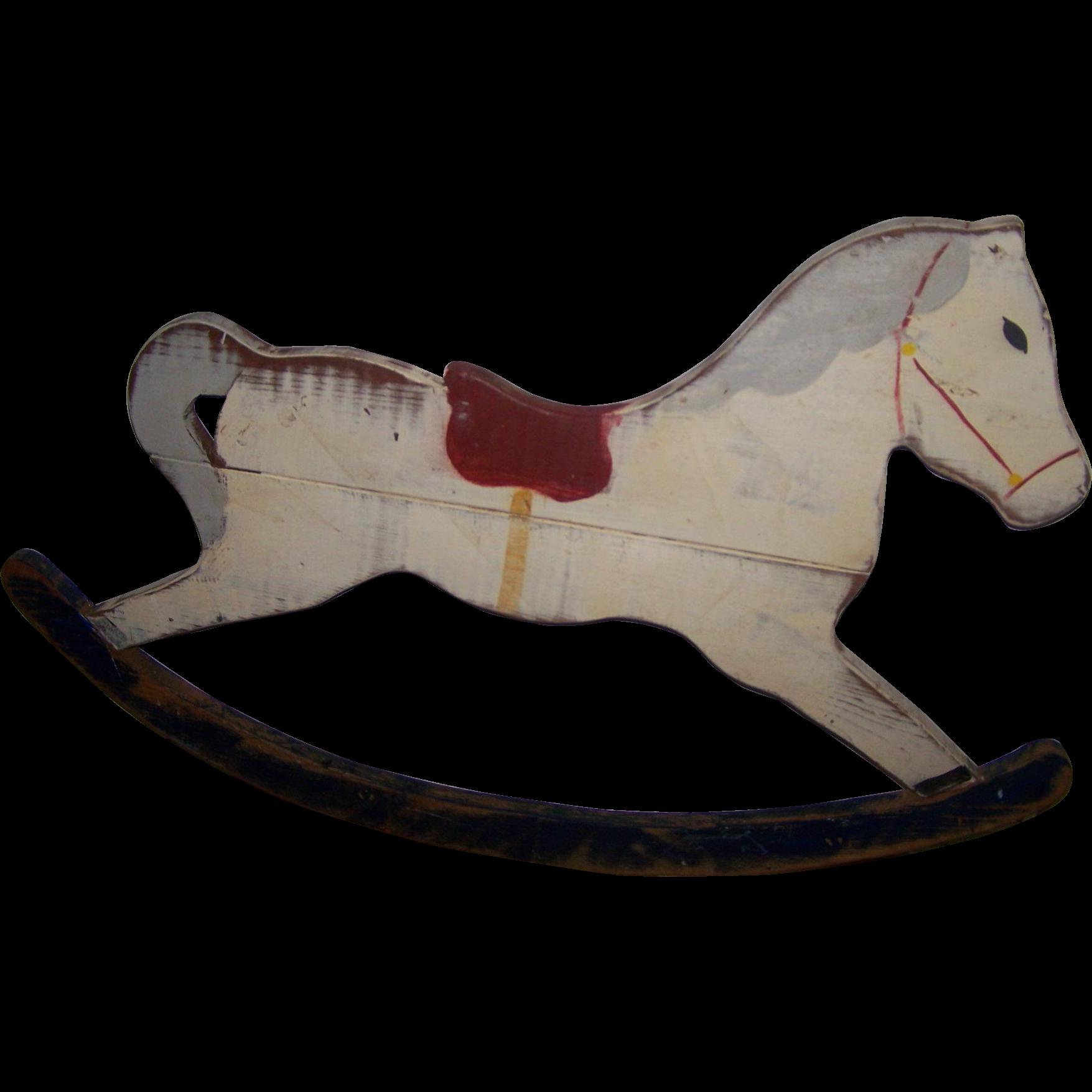 Wooden rocking horse folk art hand crafted painted rocking for Hand crafted rocking horse