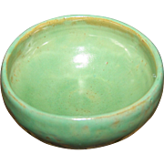 A Beautiful Small Green Studio Pottery Bowl Artist Signed