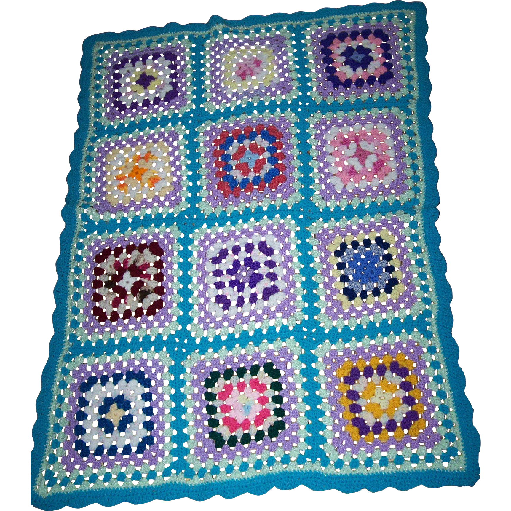 Small Hand Crochet Granny Square Style Coverlet Blanket