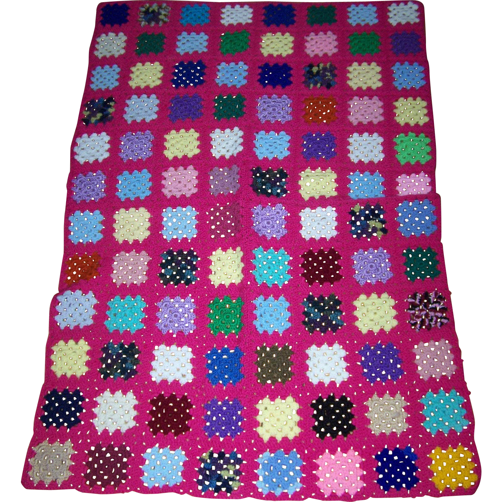 A Pretty Hand Crochet Small Granny Square Style Blanket