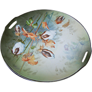 "Beautiful Vintage Handled Bread Plate "" Cottonplant""  by RS Germany"