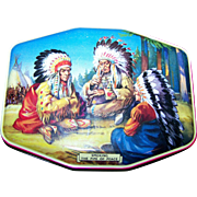"Collectible Vintage Horner Tin Litho  Box "" Smoking the Pipe of Peace ""  Native American Indian Scene"
