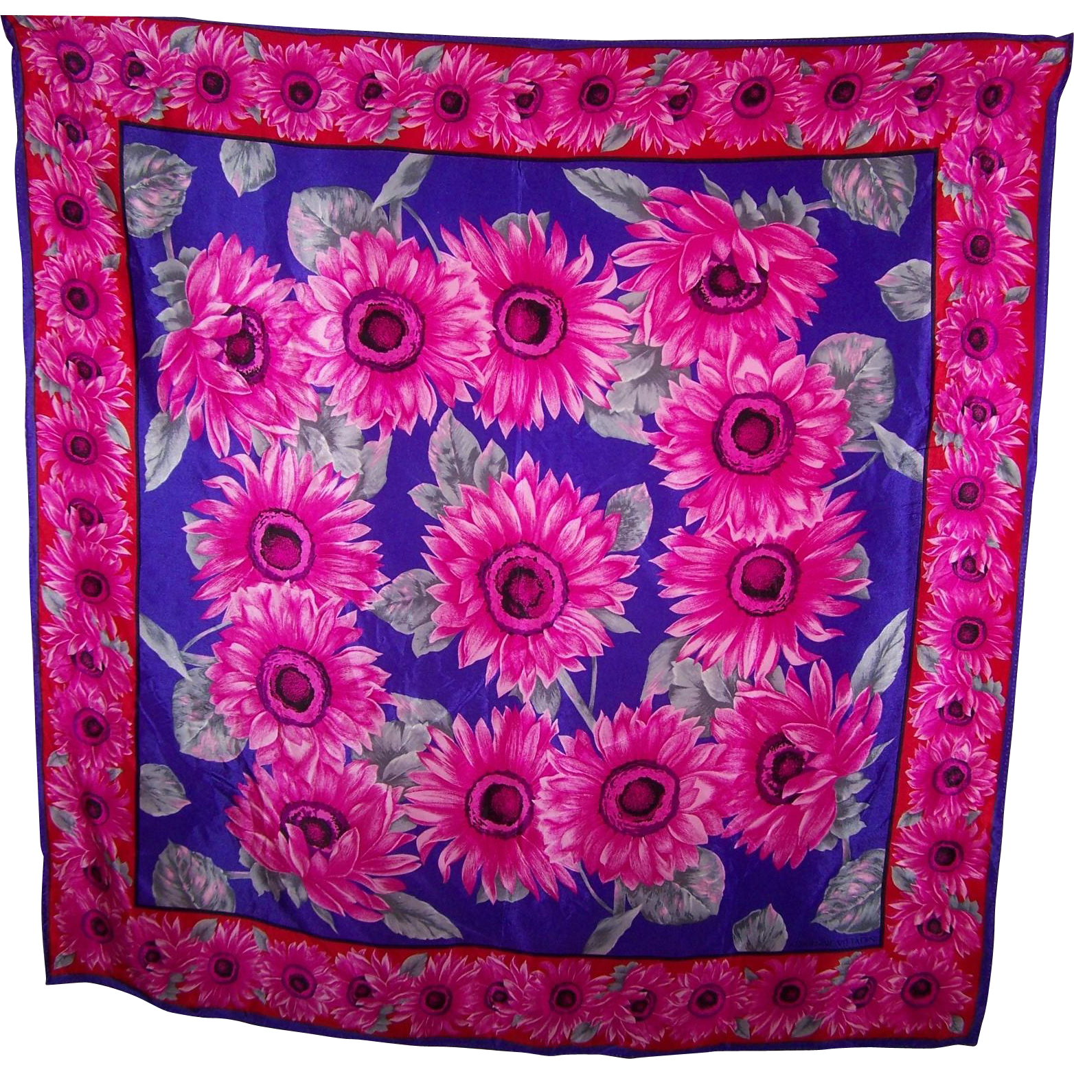 What A Pretty Pink Flower Pattern Designer Signed Adrienne Vittadini Silk Scarf Wearable ART