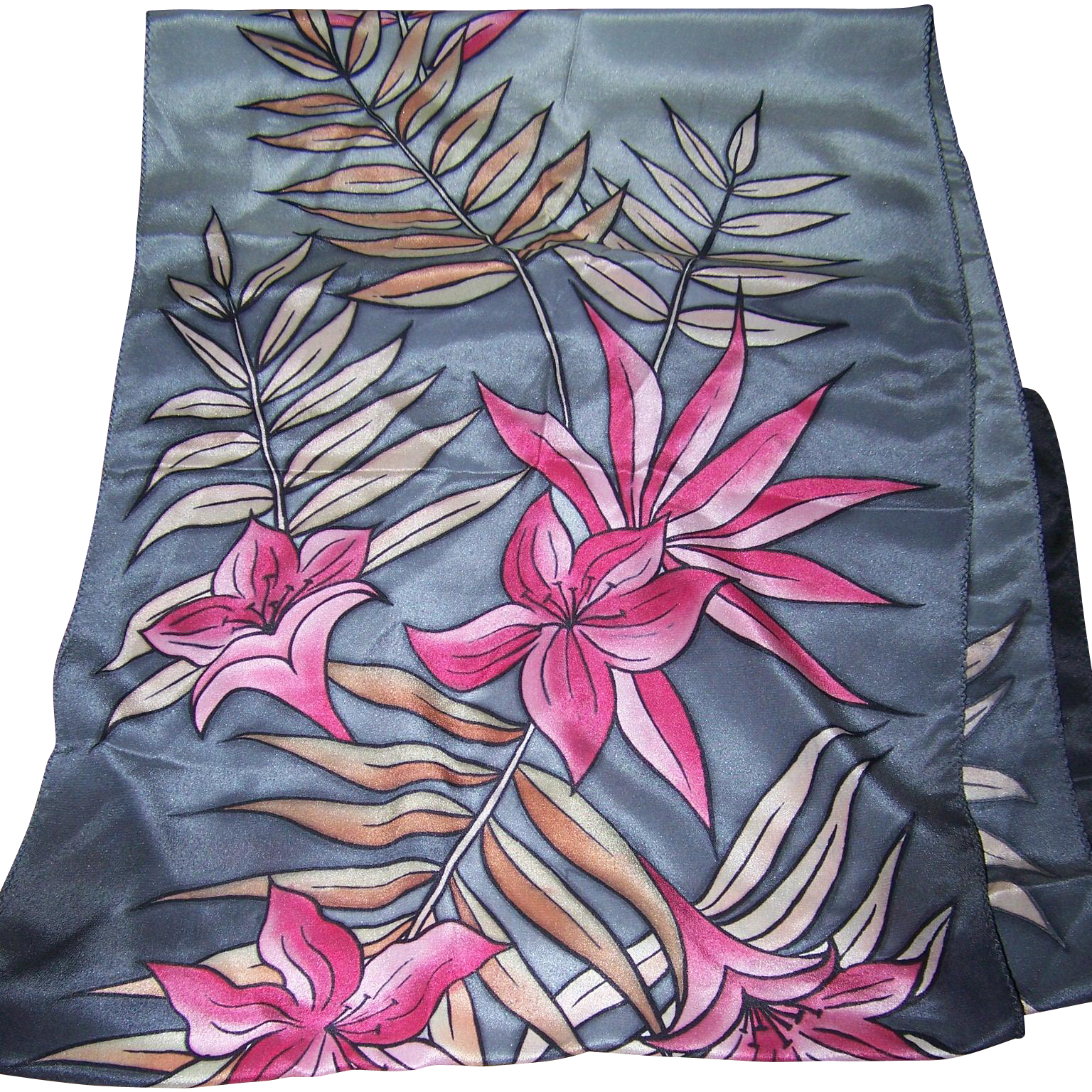 Wearable Art Hand Painted Floral Pattern Long Rectangular Silk Scarf