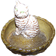 Wade England Figurine Tabby Kitty Cat in Basket MEOW