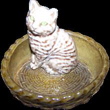 Wade England Figurine Tabby Kitty Cat in Basket MEOW