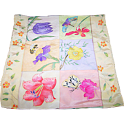 Oh So Pretty Spring Themed Scarf Flowers , Bugs , Butterflies