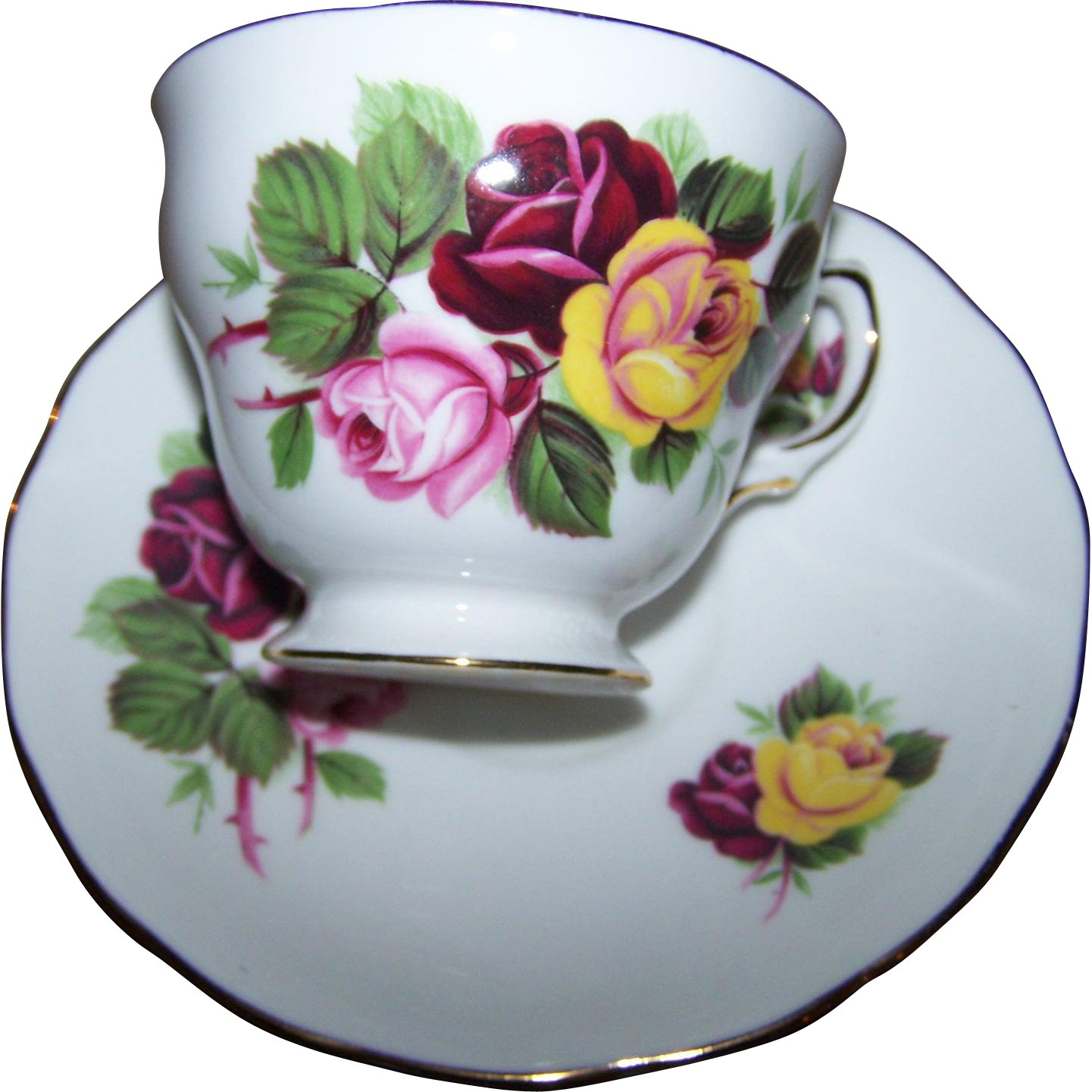 Pretty Pink Red Yellow Rose Flower Pattern Tea Cup Saucer Set Royal Vale