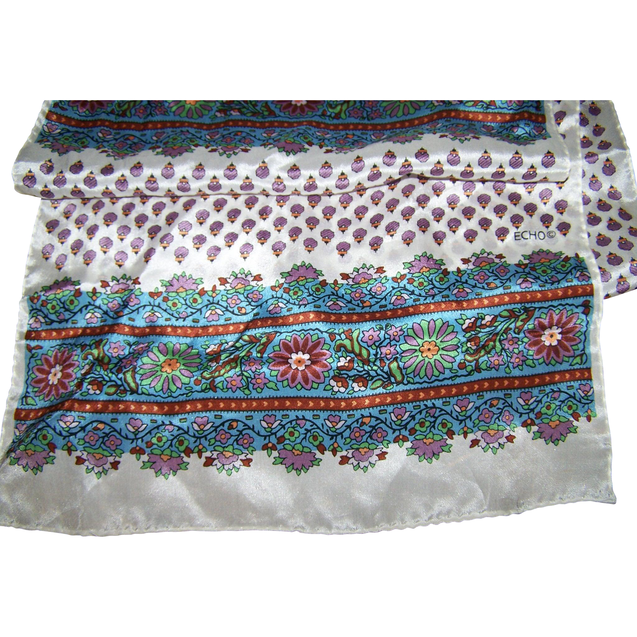 Lovely Long Designer Signed ECHO Rectangular Floral Pattern Fashion Scarf