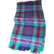 Lovely Vintage Gently Worn 100% New Wool Plaid Scarf with Fringes Made in Scotland