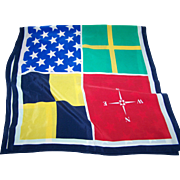 Lovely Long Rectangular Silk Blend Scarf Featuring NSEW Stars  Cross Geometric Square Pattern