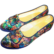 Gently Used Vintage 60s Lady  Psychedelic  Metallic Threaded Fabric  Slipper Shoes Sz 6