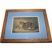 "Charming Vintage Kitty Cat Mouse Print "" Puss Napping ""  George Baxter Artist"