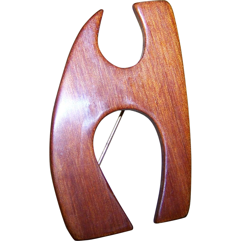 Vintage Wood Grain Style Bakelite Monogram Letter H  Brooch Pin Tested