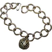 A Charming Old Decorative Ball Brass Linked Perfume Bracelet
