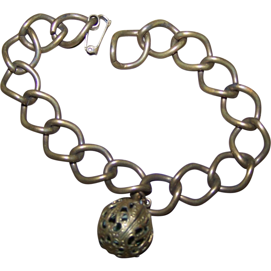 Charming Old Decorative Ball Brass Linked Perfume Bracelet