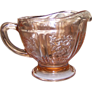 Vintage Federal Pink Sharon Cabbage Rose Depression Glass Creamer