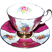 Pretty Vintage Stamped Adderley Fine Bone China Tea Cup Saucer Set Panelled Floral Pattern
