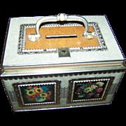 Sweet Vintage Tin Litho Bank  Chest Tin Floral Motif No Key
