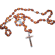 Vintage Religious Roman Catholic Wooden Wood Bead Rosary Prayer Beads Italy