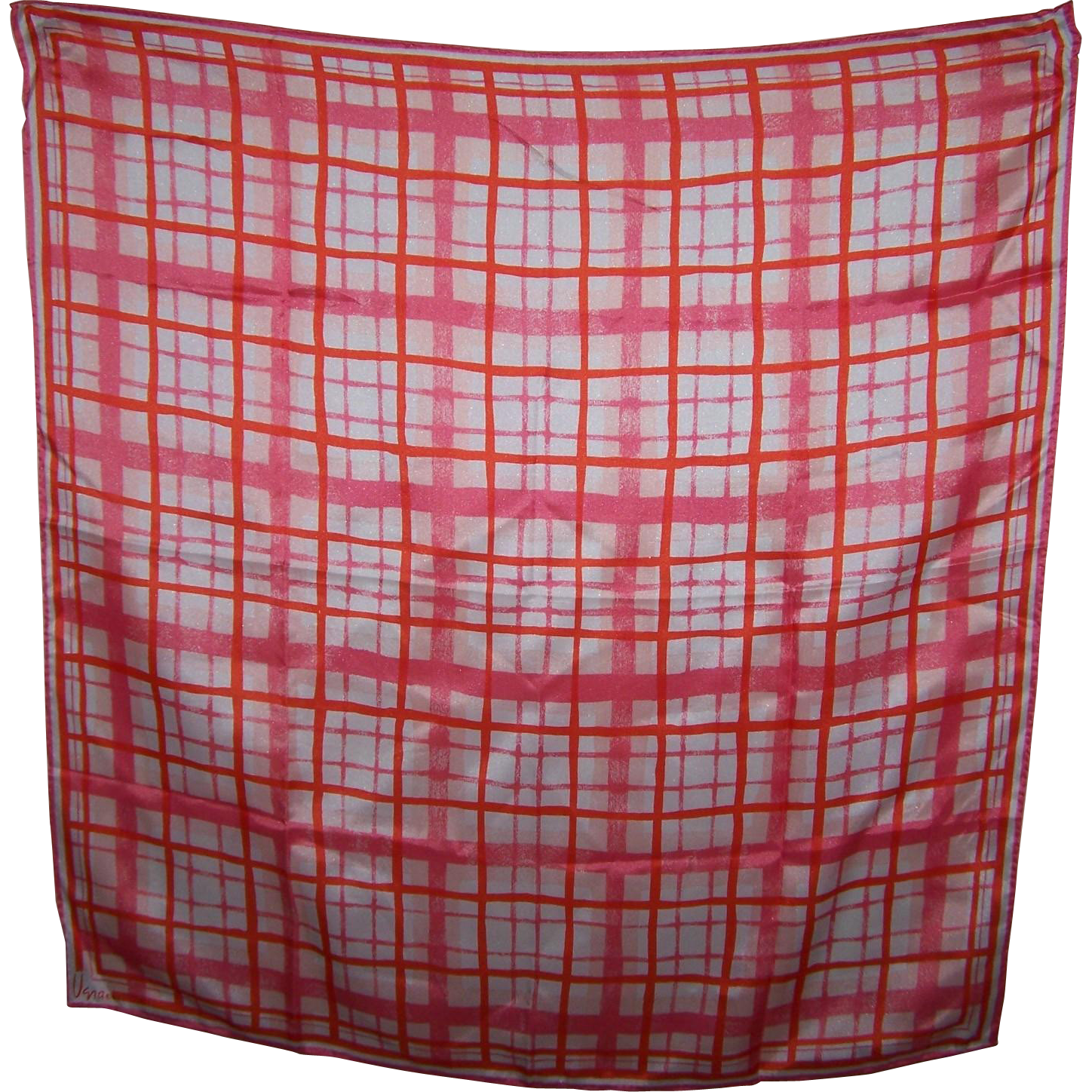Pretty Vintage Geometric Silk and Rayon Ladies Scarf Designer Signed Vera Orange Pink White