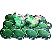 Majolica Style Kitschy  Green Deviled Egg Ceramic Serving Tray Platter with S&P Hen Shakers Japan