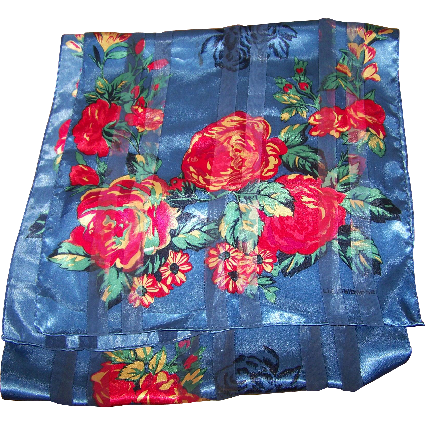 Designer Signed Solid and Sheer  Floral Pattern Long Rectangular Scarf Liz Claiborne